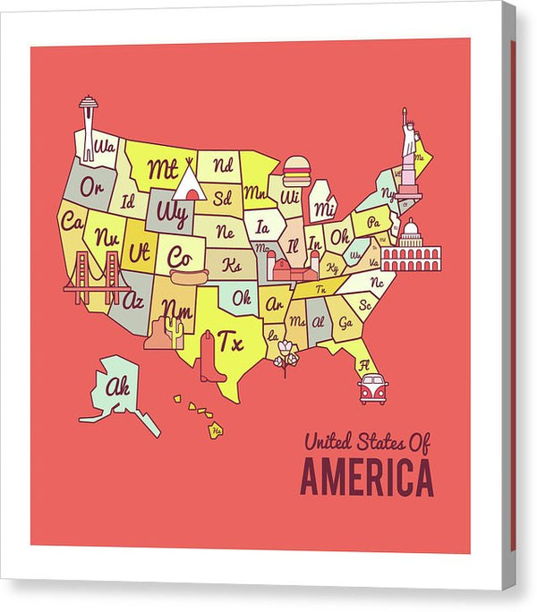 Cute United States Map Design - Canvas Print from Wallasso - The Wall Art Superstore