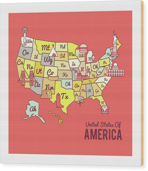 Cute United States Map Design - Wood Print from Wallasso - The Wall Art Superstore