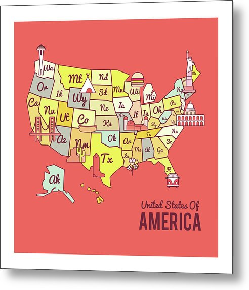 Cute United States Map Design - Metal Print from Wallasso - The Wall Art Superstore