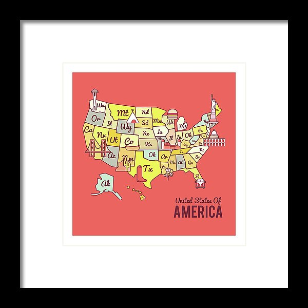 Cute United States Map Design - Framed Print from Wallasso - The Wall Art Superstore