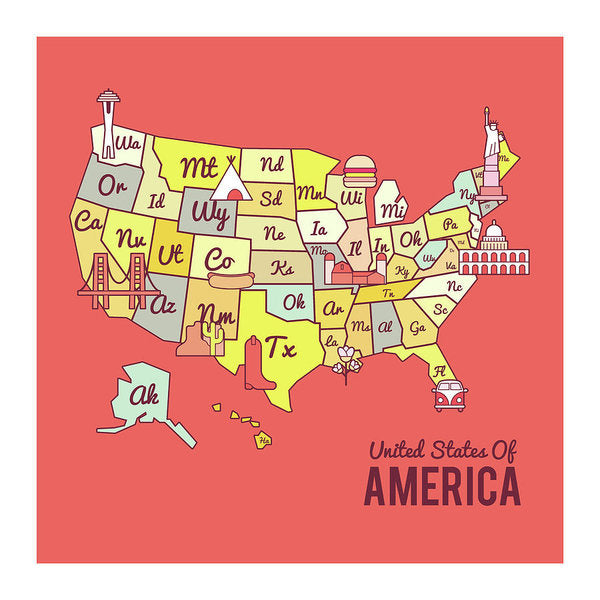 Cute United States Map Design - Art Print from Wallasso - The Wall Art Superstore