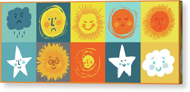 Cute Weather Face Doodles For Kids - Acrylic Print from Wallasso - The Wall Art Superstore