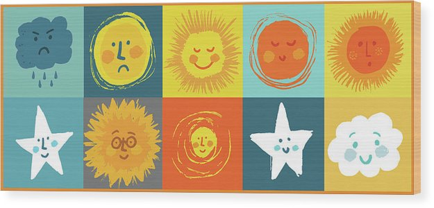 Cute Weather Face Doodles For Kids - Wood Print from Wallasso - The Wall Art Superstore