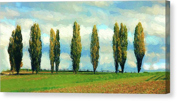 Cypress Trees In A Row Painting - Canvas Print from Wallasso - The Wall Art Superstore