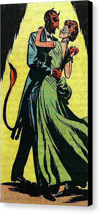 Dancing With The Devil, Vintage Comic Book - Canvas Print from Wallasso - The Wall Art Superstore
