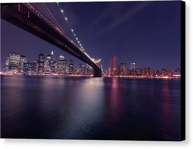 Dark Blue Brooklyn Bridge and New York City Skyline At Night - Canvas Print from Wallasso - The Wall Art Superstore
