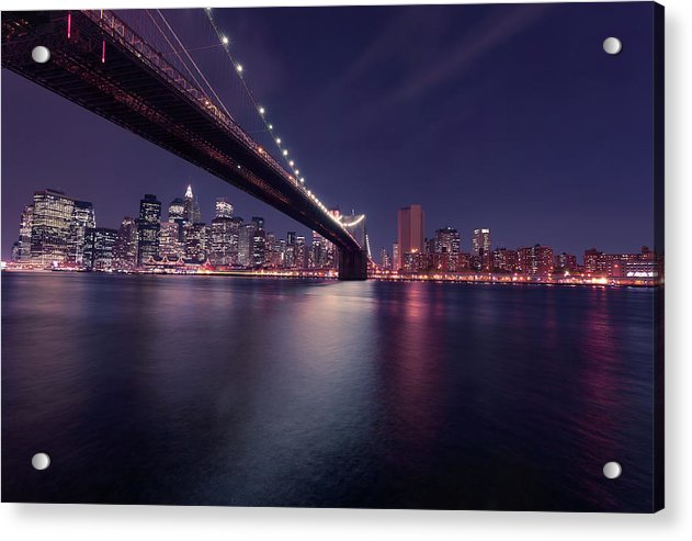 Dark Blue Brooklyn Bridge and New York City Skyline At Night - Acrylic Print from Wallasso - The Wall Art Superstore