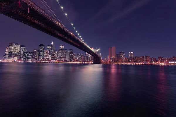 Dark Blue Brooklyn Bridge and New York City Skyline At Night - Art Print from Wallasso - The Wall Art Superstore