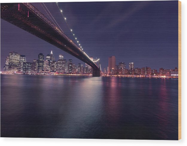 Dark Blue Brooklyn Bridge and New York City Skyline At Night - Wood Print from Wallasso - The Wall Art Superstore