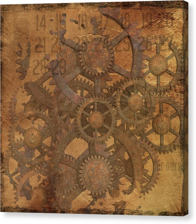 Decoupage Design With Gears and Sprockets - Canvas Print from Wallasso - The Wall Art Superstore
