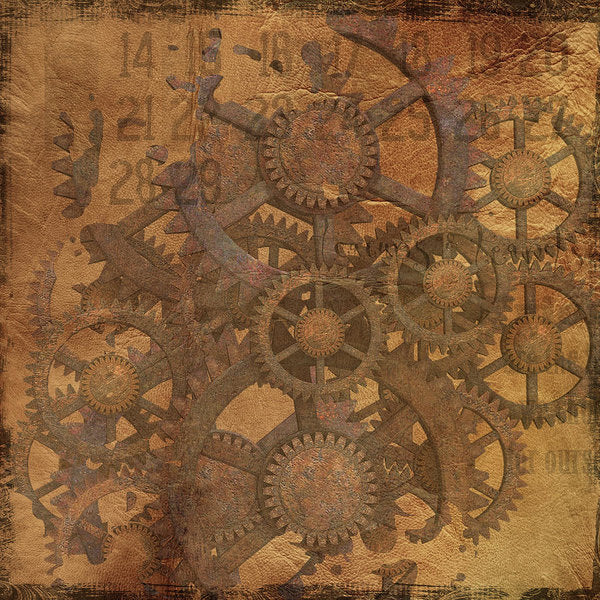Decoupage Design With Gears and Sprockets - Art Print from Wallasso - The Wall Art Superstore