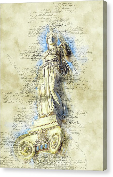 Decoupage Greek Statue - Canvas Print from Wallasso - The Wall Art Superstore
