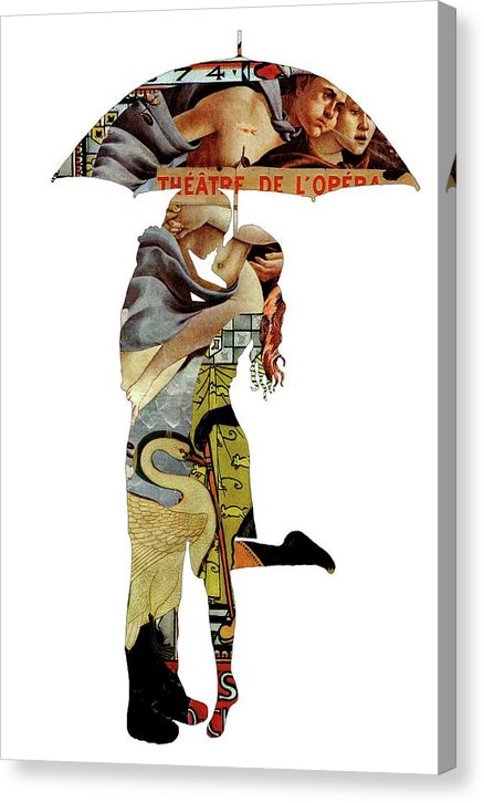 Decoupage of Couple Embracing Under Umbrella - Canvas Print from Wallasso - The Wall Art Superstore