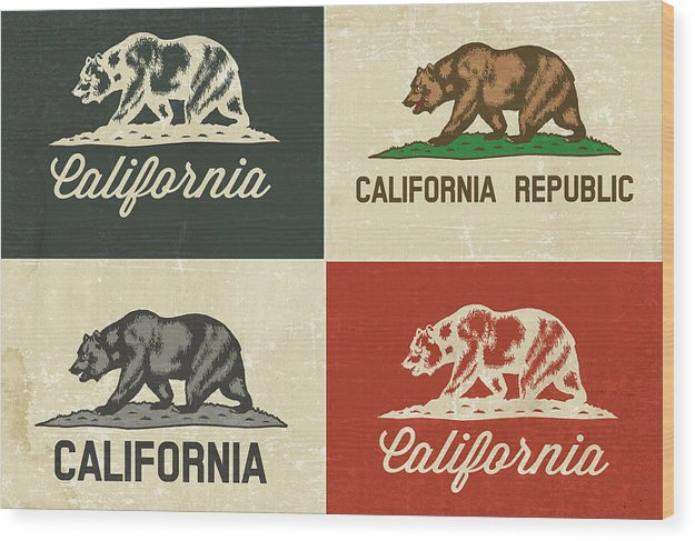 Distressed California State Flag Design - Wood Print from Wallasso - The Wall Art Superstore