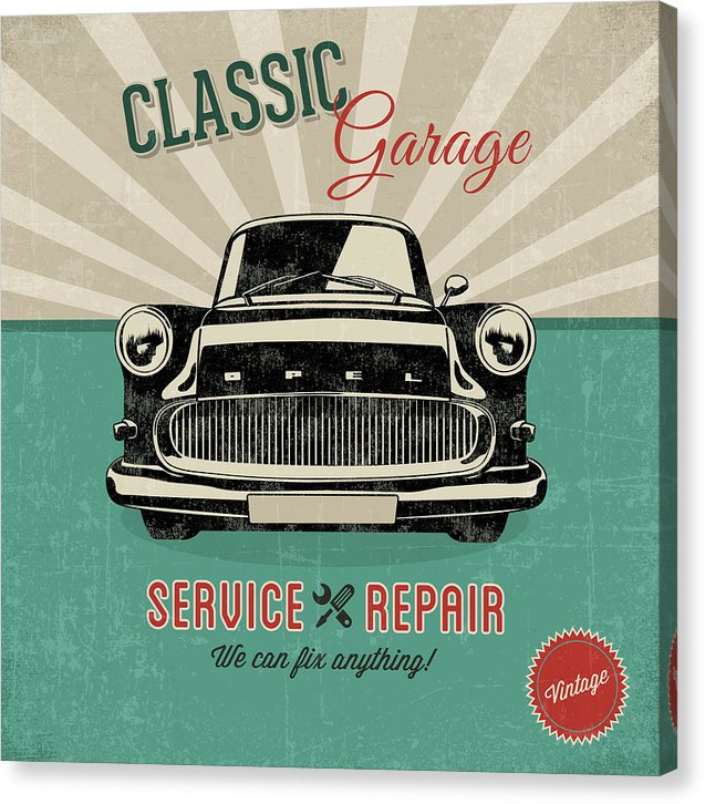 Distressed Classic Car Garage Service and Repair Sign - Canvas Print from Wallasso - The Wall Art Superstore