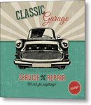 Distressed Classic Car Garage Service and Repair Sign - Metal Print from Wallasso - The Wall Art Superstore