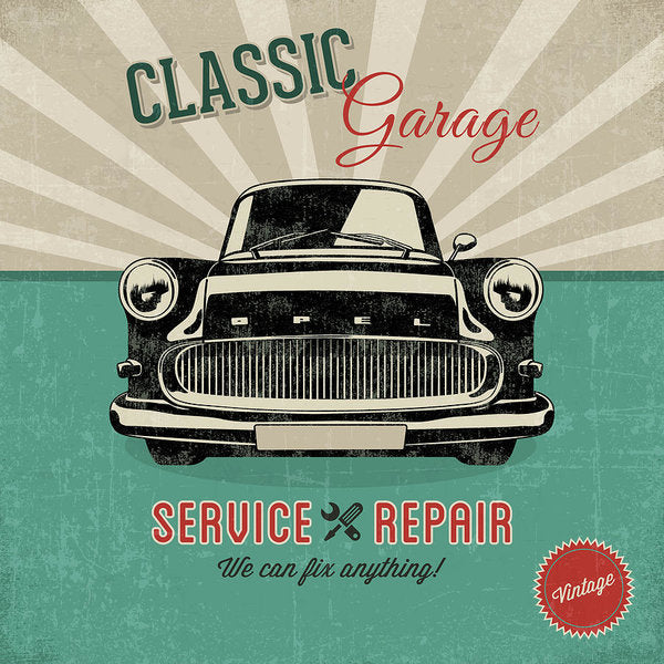Distressed Classic Car Garage Service and Repair Sign - Art Print from Wallasso - The Wall Art Superstore