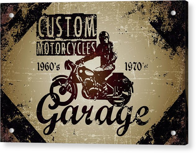 Distressed Custom Motorcycles Sign - Acrylic Print from Wallasso - The Wall Art Superstore