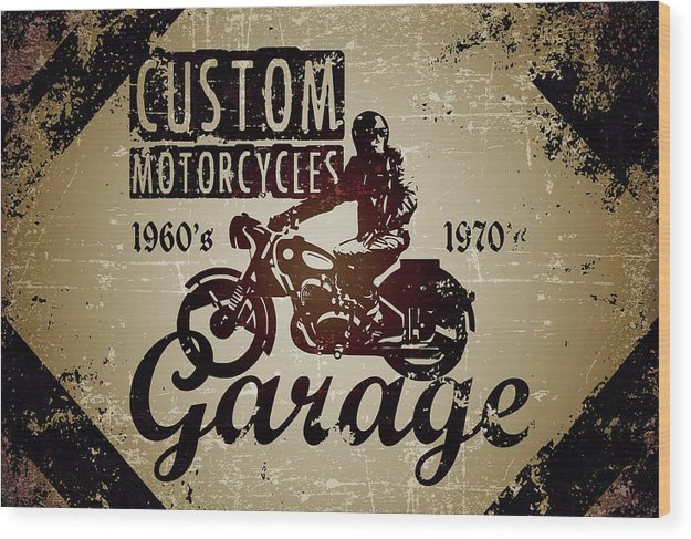 Distressed Custom Motorcycles Sign - Wood Print from Wallasso - The Wall Art Superstore