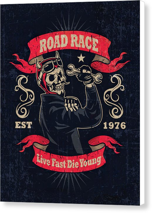 Distressed Live Fast Die Young Skeleton Motorcycle Sign - Canvas Print from Wallasso - The Wall Art Superstore