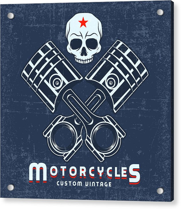 Distressed Motorcycle Sign With Skull and Pistons - Acrylic Print from Wallasso - The Wall Art Superstore