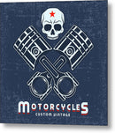 Distressed Motorcycle Sign With Skull and Pistons - Metal Print from Wallasso - The Wall Art Superstore