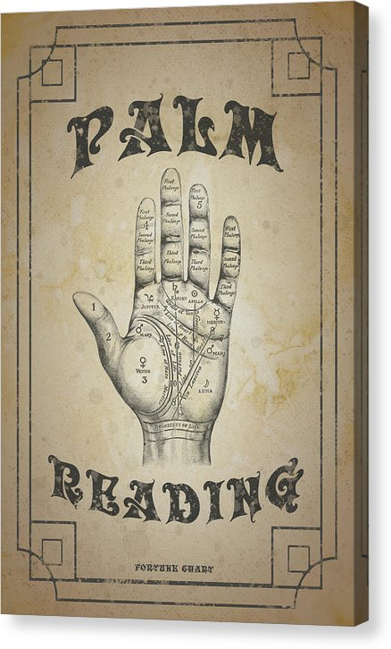 Distressed Palm Reading Sign - Canvas Print from Wallasso - The Wall Art Superstore