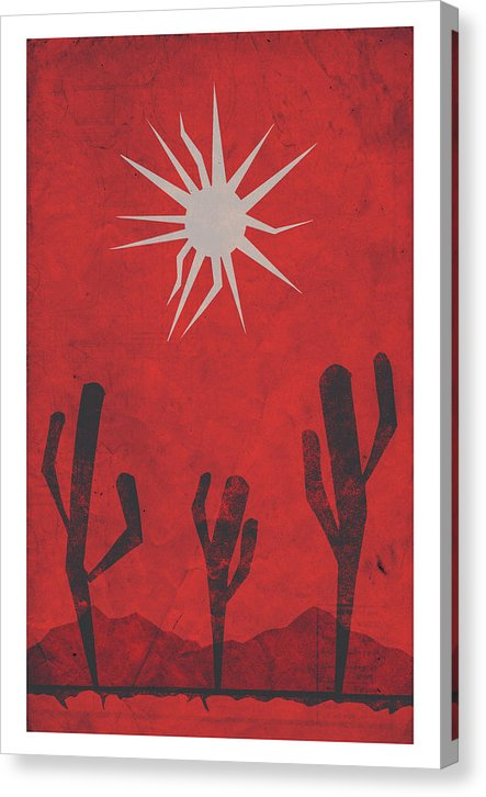 Distressed Retro Poster of Minimalist Desert Scene - Canvas Print from Wallasso - The Wall Art Superstore