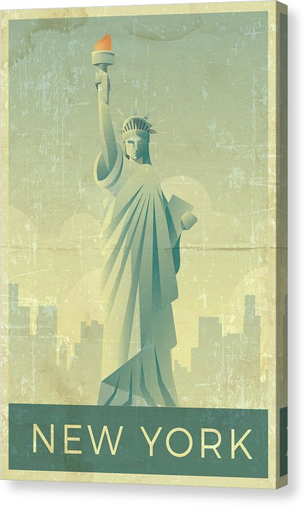Distressed Statue of Liberty New York Design - Canvas Print from Wallasso - The Wall Art Superstore