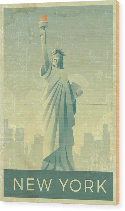 Distressed Statue of Liberty New York Design - Wood Print from Wallasso - The Wall Art Superstore