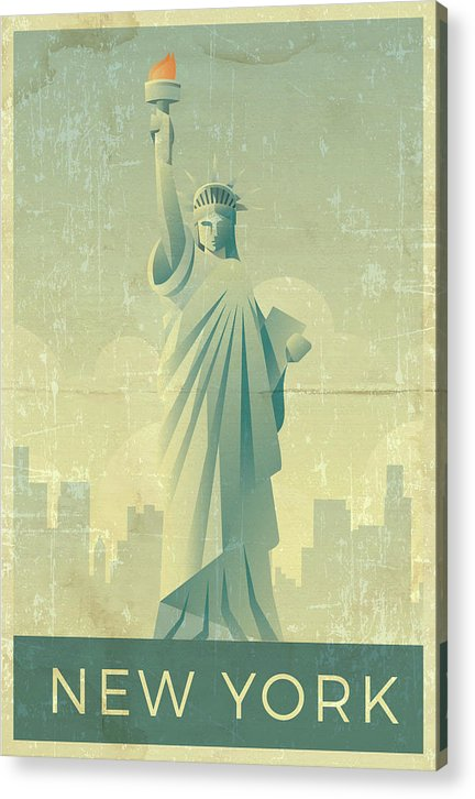 Distressed Statue of Liberty New York Design - Acrylic Print from Wallasso - The Wall Art Superstore