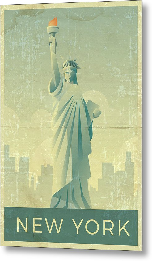 Distressed Statue of Liberty New York Design - Metal Print from Wallasso - The Wall Art Superstore