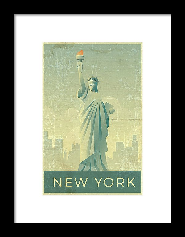 Distressed Statue of Liberty New York Design - Framed Print from Wallasso - The Wall Art Superstore