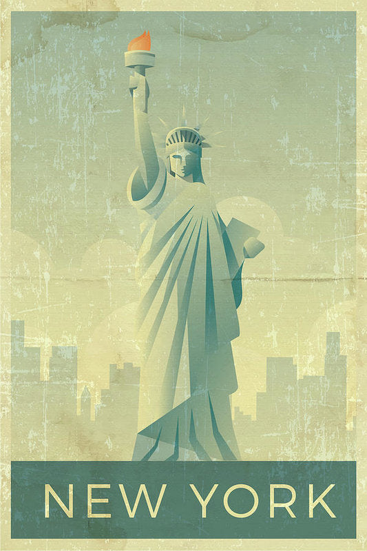 Distressed Statue of Liberty New York Design - Art Print from Wallasso - The Wall Art Superstore