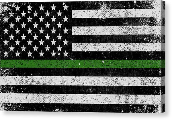 Distressed Thin Green Line Federal Law American Flag Design - Canvas Print from Wallasso - The Wall Art Superstore