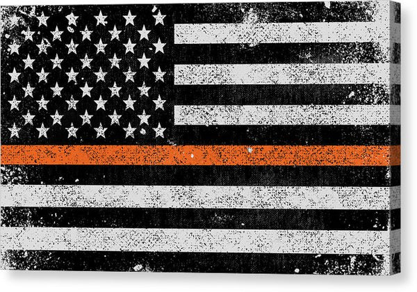 Distressed Thin Orange Line Search and Rescue American Flag Design - Canvas Print from Wallasso - The Wall Art Superstore