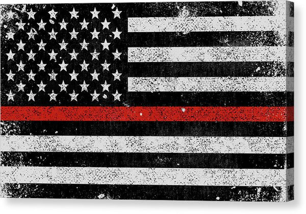 Distressed Thin Red Line Firefighter American Flag Design - Canvas Print from Wallasso - The Wall Art Superstore