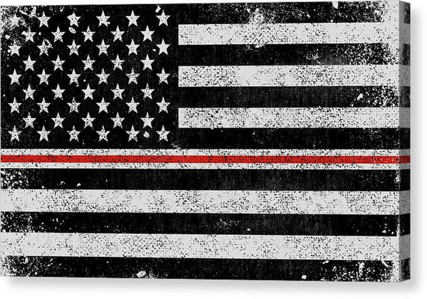 Distressed Thin Red Line Nurses American Flag Design - Canvas Print from Wallasso - The Wall Art Superstore