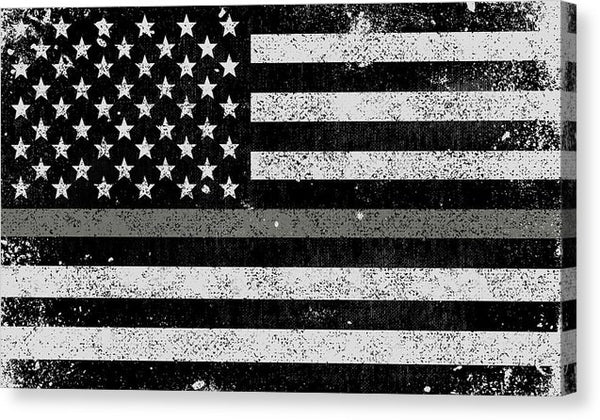 Distressed Thin Silver Line Corrections American Flag Design - Canvas Print from Wallasso - The Wall Art Superstore