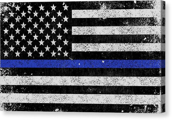 Distressed Thin Blue Line Police American Flag Design - Canvas Print from Wallasso - The Wall Art Superstore