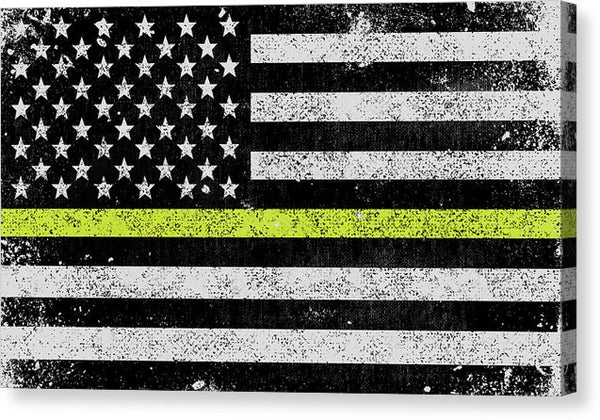 Distressed Thin Yellow Line American Flag Design - Canvas Print from Wallasso - The Wall Art Superstore