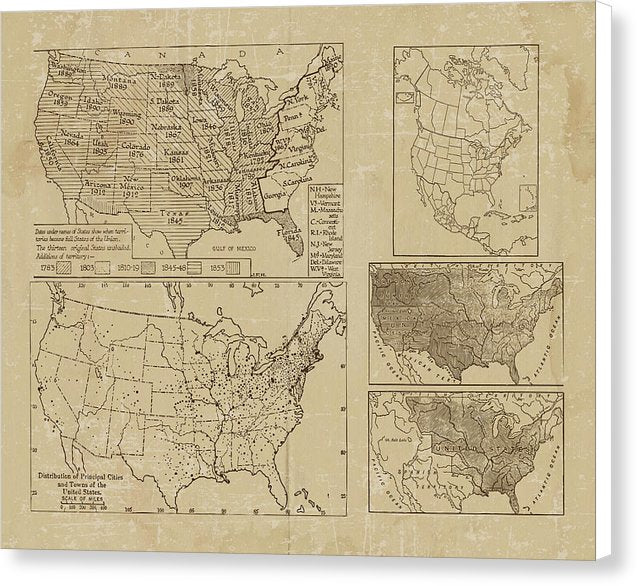 Distressed United States Map Design - Canvas Print from Wallasso - The Wall Art Superstore