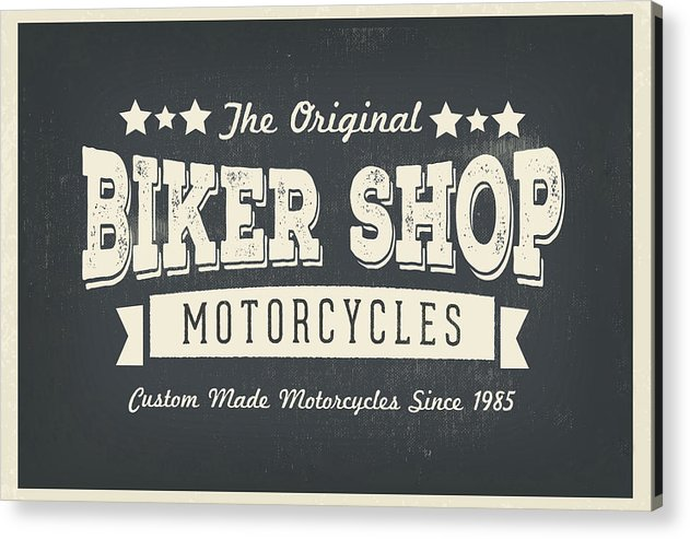 Distressed Vintage Biker Shop Motorcycles Sign - Acrylic Print from Wallasso - The Wall Art Superstore