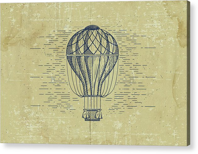 Distressed Vintage Hot Air Balloon Drawing - Acrylic Print from Wallasso - The Wall Art Superstore