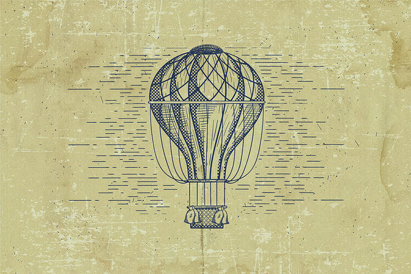 Distressed Vintage Hot Air Balloon Drawing - Art Print from Wallasso - The Wall Art Superstore