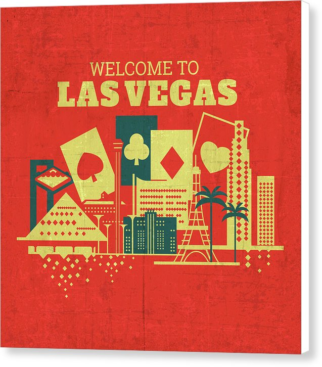 Distressed Welcome To Las Vegas Design - Canvas Print from Wallasso - The Wall Art Superstore