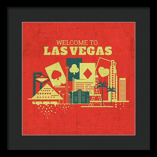 Distressed Welcome To Las Vegas Design - Framed Print from Wallasso - The Wall Art Superstore