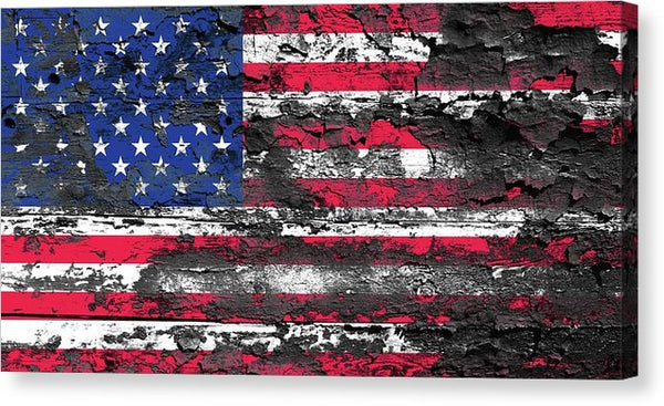 Distressed Wood American Flag Texture - Canvas Print from Wallasso - The Wall Art Superstore