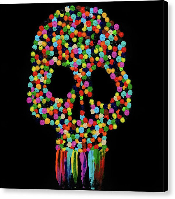 Paint Dollop Skull By Jessica Contreras - Canvas Print from Wallasso - The Wall Art Superstore