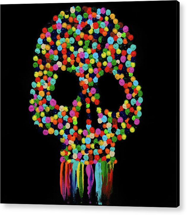 Paint Dollop Skull by Jessica Contreras - Acrylic Print from Wallasso - The Wall Art Superstore